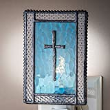 J Devlin NTL 177-2 Christian Cross Night Light Blue Decorative Stained Glass Religious Gift