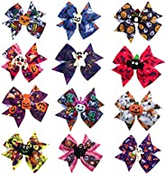 3 Inch Halloween Hair Bows Clips Grosgrain Ribbon Boutique Alligator Clips For Baby Girls Teens Toddlers Kids