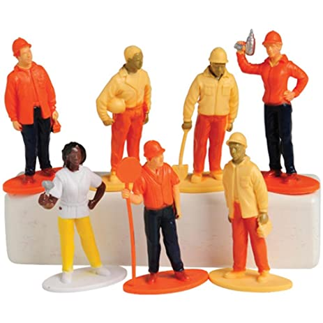 US Toy Construction Worker Figures 1 Dozen