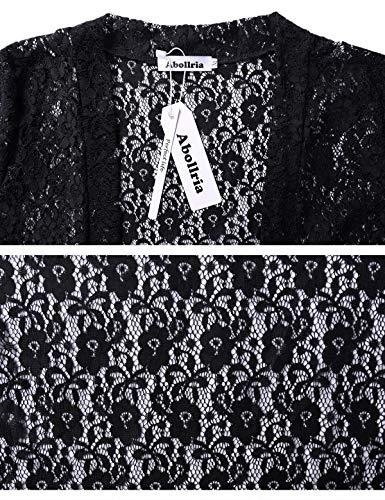 Chaleco abierta corto Mujer Ligero vestido Aibrou y de para Elegante fiesta elegante corta de manga Bolero chaqueta encaje Negro de 5pwxAqU