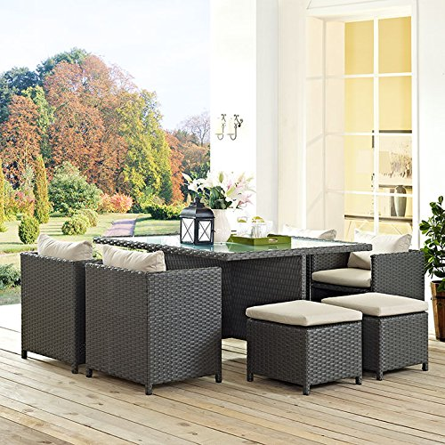 Modway EEI-1946-CHC-BEI-SET Sojourn Wicker Rattan Outdoor Patio Coffee Table, Dining for Six with Large, Beige
