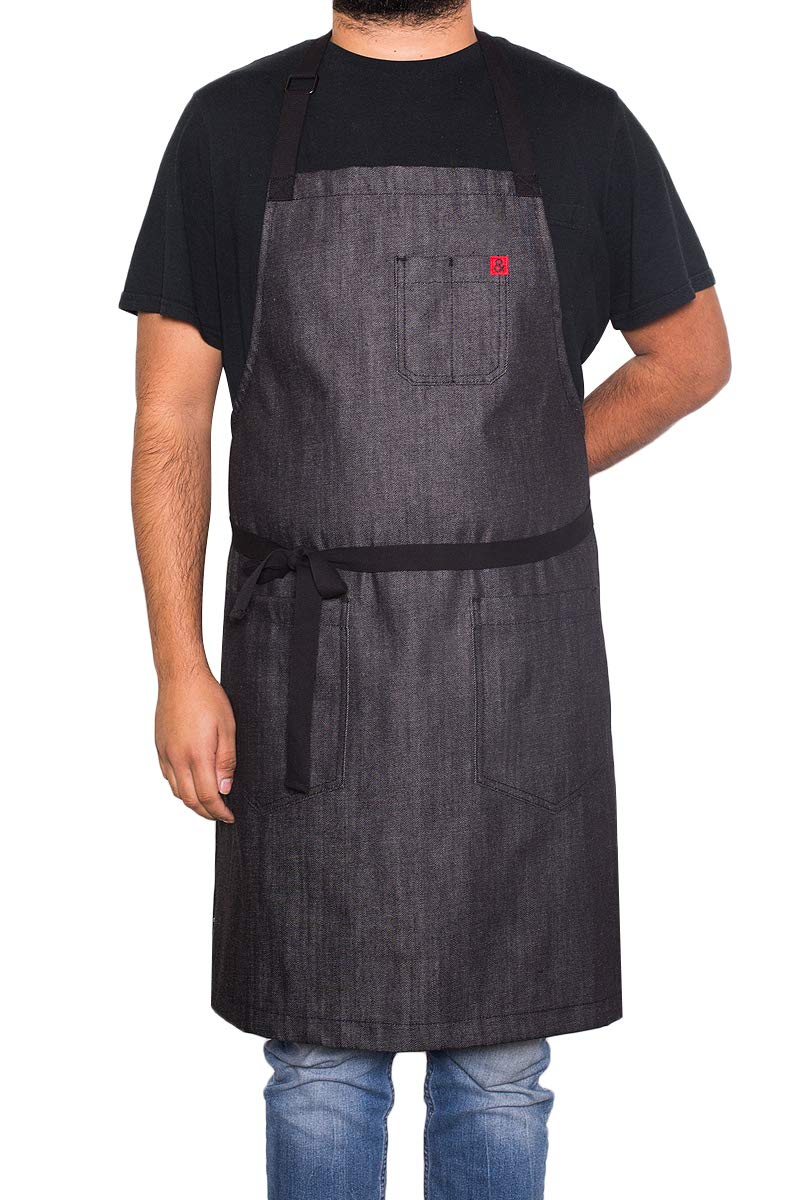 hedley & bennett Abalone Classic Apron - Black Denim Color - Unisex & One Size Fits Most - Loved and Endorsed by Professional and Celebrity Chefs by hedley & bennett
