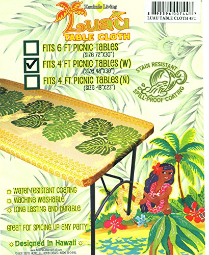Kauhale Living Hawaiian Tropical Picnic Tablecloth (Fits 4 feet picnic tables 48''x30'', spicing up any party) by Kauhale Living