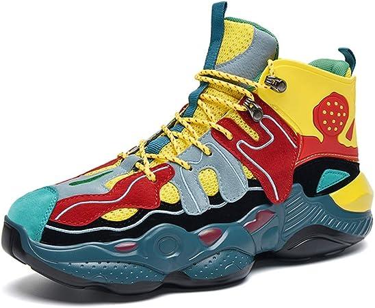 Zapatos para correr para hombre, zapatillas de deporte tejidas voladoras Baloncesto antideslizante resistente al desgaste Baloncesto transpirable Tenis para correr Calzado deportivo para caminar,Amarillo,39: Amazon.es: Hogar