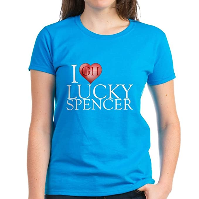 02eed39cbe26d Amazon.com: CafePress I Heart Lucky Spencer Women's Dark T-Shirt - Womens  Cotton T-Shirt: Clothing