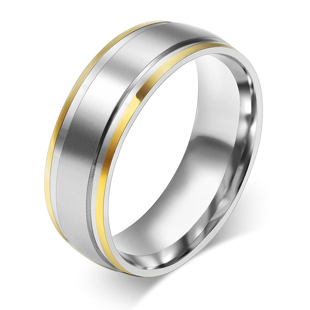 ANAZOZ Matte Finised 8MM Blue Tungsten Carbide Wedding Band Ring for Him Size 7