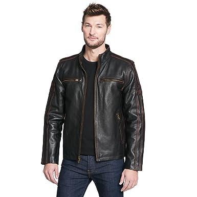 a62110f4b Black Rivet Mens Big & Tall Antique Leather Cycle Jacket 3XLT Brown