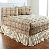 BrylaneHome Bed Tite Flannel Sheet Set (Natural Plaid,King)