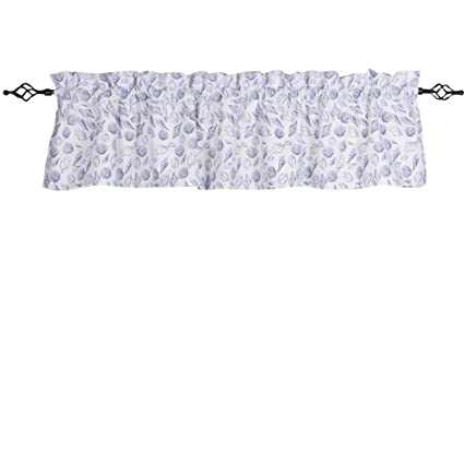 Home Collections by Raghu 72x15.5 Shells Valance, White and Navy