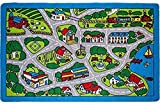 Kids Rug Street Map in Grey 5' X 7' Children Area Rug - Non Skid Gel Backing (59'' x 82'')