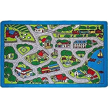 Amazon Com Fun Time Country Fun Kids Road Rug Size 4 3