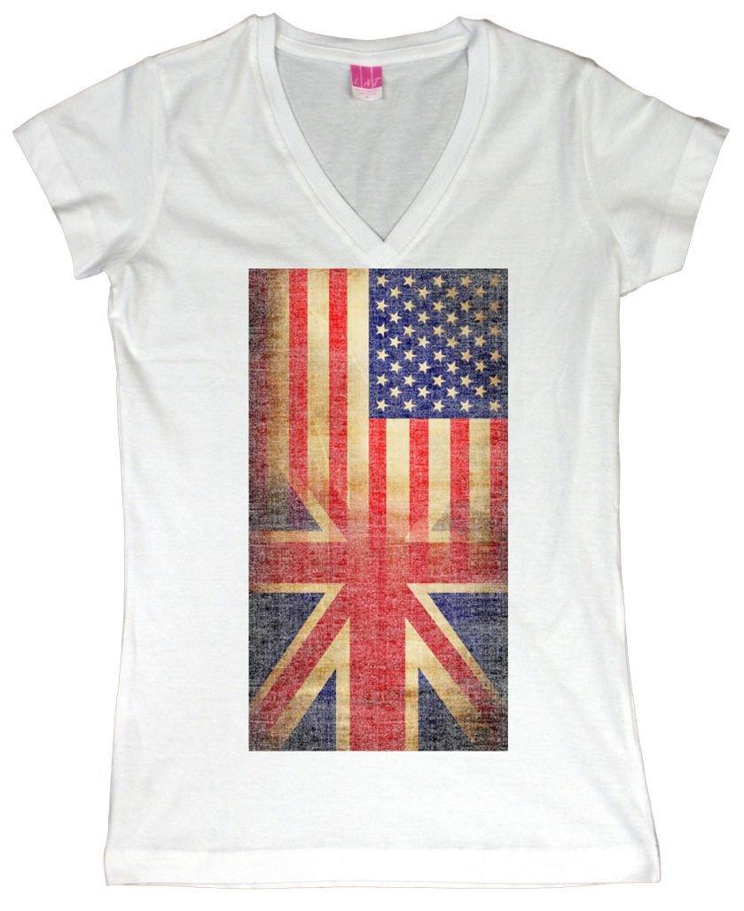 Vneck Vintage Usa British Distress Flag Tshirt