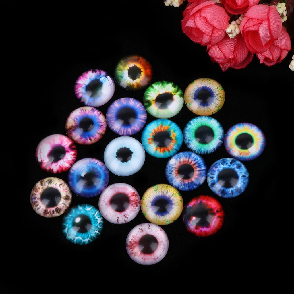 20MM Haayward 20Pcs Glass Dolls Safety Eye Making DIY Handcraft Animal Eyes Jewelry Accessories 10//16//20mm