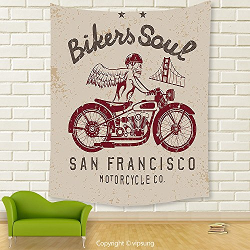 Vipsung House Decor Tapestry_Retro By Bikers Soul San Francisco Emblem With Skull Wings Riding Motorcycle Dead Illustration Beige Ruby_Wall Hanging For Bedroom Living Room (Halloween Dog Parade San Francisco)