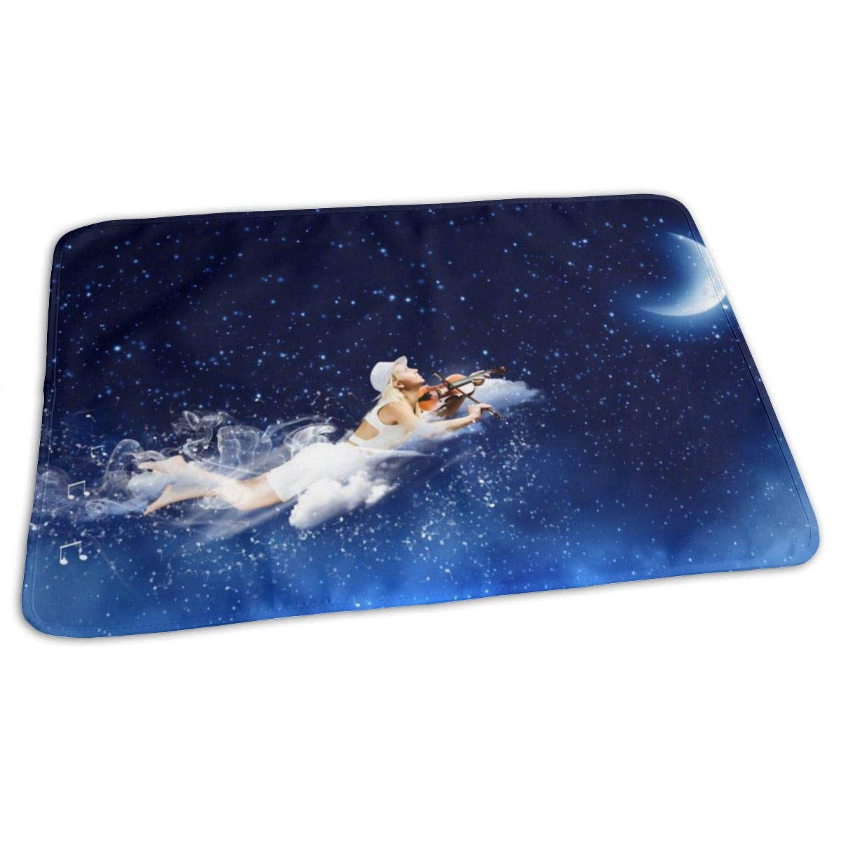 Osvbs Lovely Baby Reusable Waterproof Portable Blonde Girls Fly and Play Violin in The Night Sky Changing Pad Home Travel 27.5''x19.7'' by Osvbs
