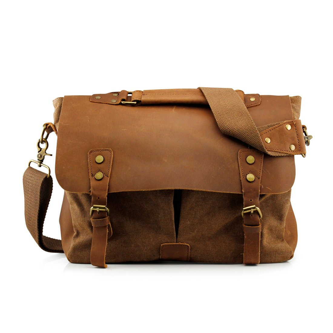 2379d4a6dc2e Amazon.com  GEARONIC TM Men s Vintage Canvas Leather Messenger Bag Satchel  School Military Shoulder Travel Bag for Notebook Laptop Macbook 11 and 13  inch ...