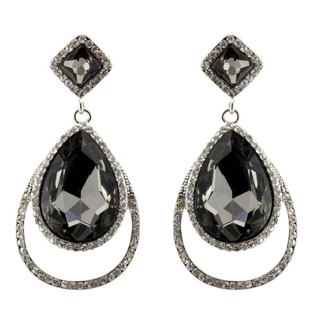209-GRAY CHARCOAL Fashion Party & Wedding Jewelry Tear Drop Dangle Chandelier Alloy Rhinestone Earrings