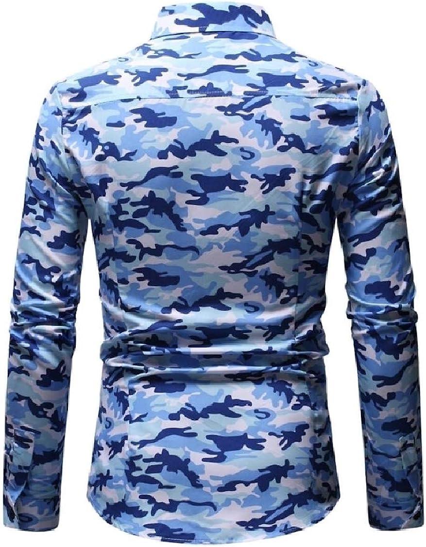 XQS Mens Camouflage Slim Long Sleeve Casual Shirt Button Down Shirts