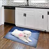 Easy Care Rug Fluffy white puppy of Samoyed dog Ideal Anti Slip Rug Pad W36'' x H20''