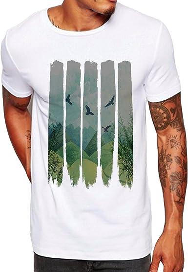 Camisetas Hombre Lanskirt Camisas de Manga Corta con Cuello ...