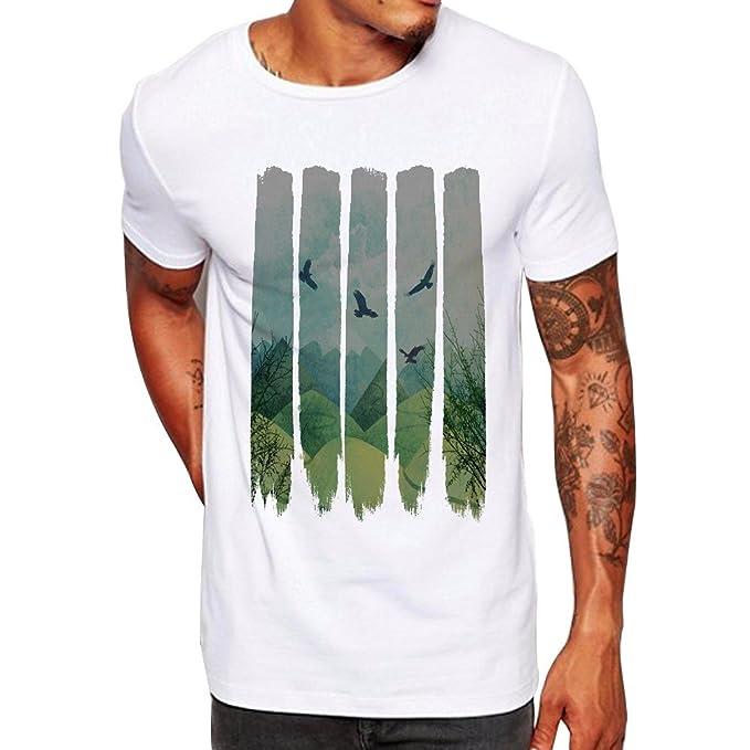 Hombres Que Imprimen la Blusa de la Camiseta de Manga Corta de la Camisa de Las
