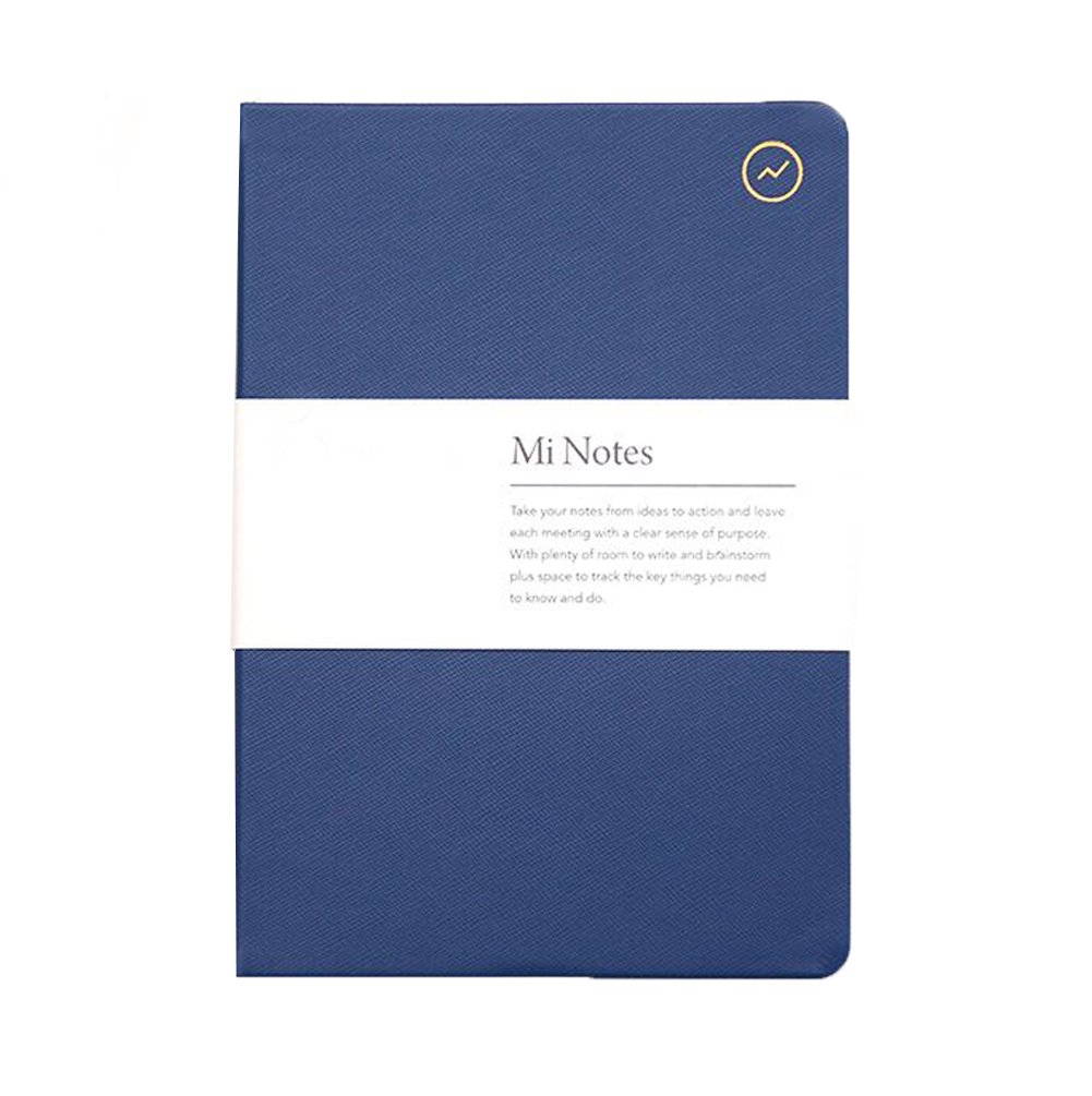 Hardcover Business Notebook, PU Leather Student Diary Note Book Bullet Journal Executive Notebooks, Classic Office Middle/High School College Writing Notebook, A5 80gsm Premium Lined Paper (Blue)