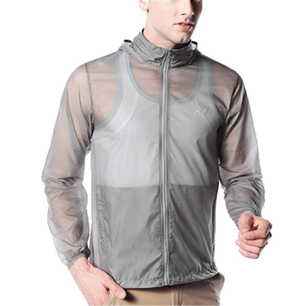 Kuer Unisex Nylon Ultrathin Breathable Waterproof Sports Windbreaker Skin Coat(Gray,XXL)
