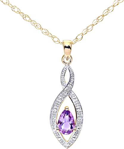 """real 9ct 375 yellow gold Amethyst pendants /& trace necklace chain 18/"""" new"""