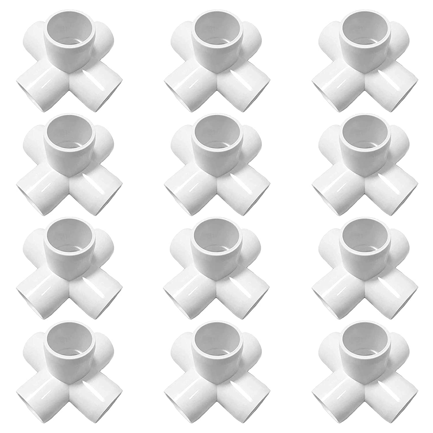 12 Pack 1 Inch 5 Way PVC Elbow Fittings, 5-Way Cross PVC Fitting Connector for Build Heavy Duty PVC Furniture, 5 Way 1 Inch PVC Pipe Joint, PVC Pipe Corner Fitting,White