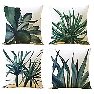 "WOMHOPE 4 Pcs - 17"" Spring Green Plant Printing Cotton Linen Throw Covers Throw Pillow Covers Square Cushion Covers Decorative Pillow Covers Pillowcase for Couch (D)"