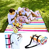 Pumpkin Town Picnic Blanket Waterproof Extra Large with Handle and Shoulder Strap, Rainbow, Outdoor Blanket with Waterproof Backing for Family Concerts, Camping, Beach, Park 79'' X 59''