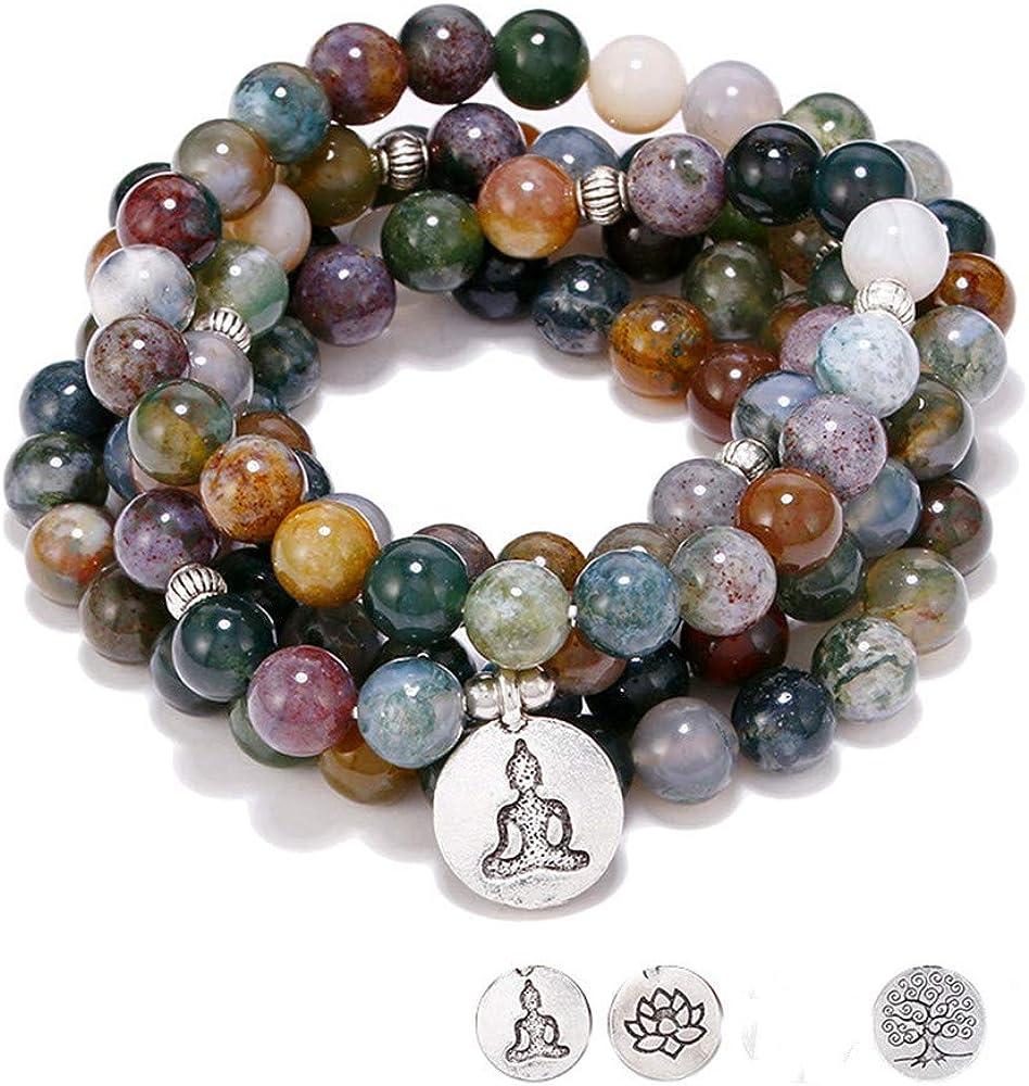 6 Mm Pierre bouddhiste Naturelle Aigue-marine 108 prière perles Mala Bracelet