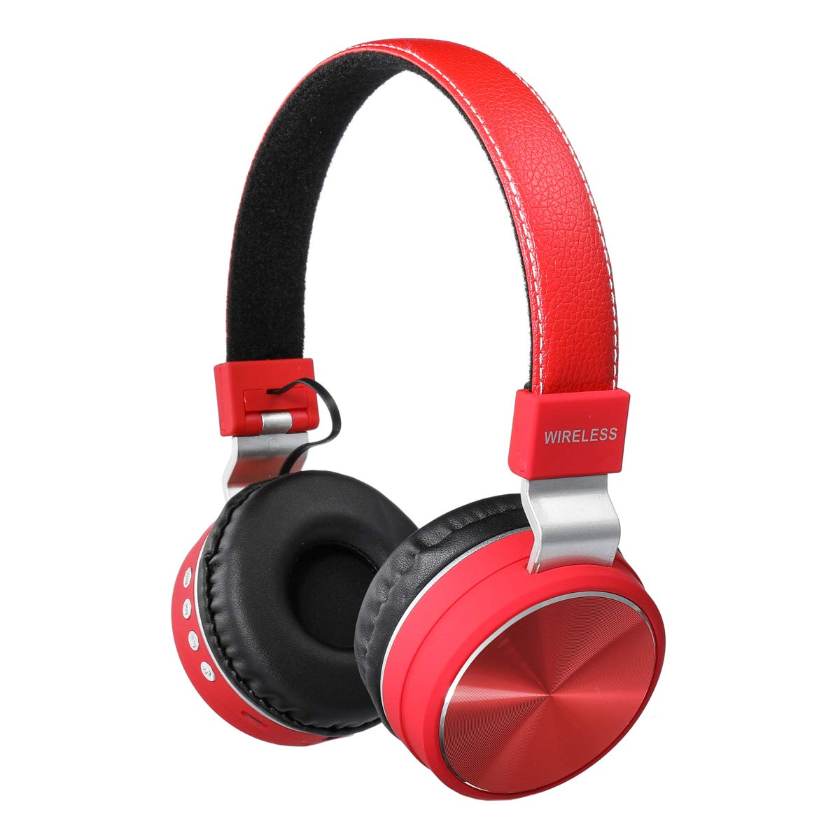 HM2 Noise Cancelling Bluetooth 4.2 Headphone with Microphone, Wireless Lightweight On Ear Headphone, Portable Fold for TV Cellphone Travel Work and Support TF Card (Red)
