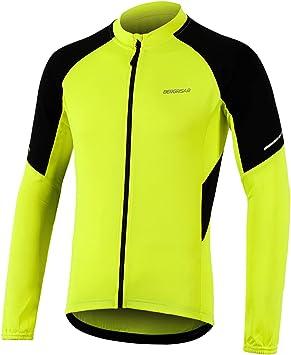 BERGRISAR Maillot de ciclismo para hombre manga larga MTB Bike Camisas con bolsillos con cremallera: Amazon.es: Ropa y accesorios