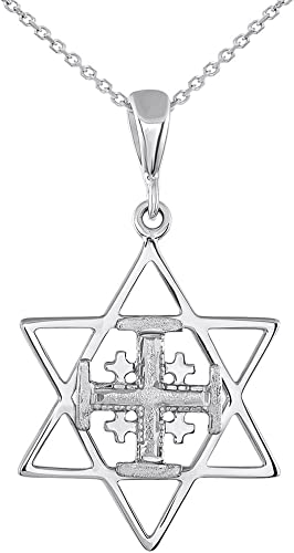 """14k Real White Gold Baby Cross Pendant Necklace 16/"""""""