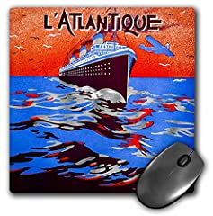 "Vintage art Deco travel L atlantique pochoir 1930S transatlantic Cruise mouse pad is 8"" x 8"" x .25"" and is made of heavy-duty recycled rubber. Matte finish image will not fade or peel. Machine washable using a mild detergent and air dry."