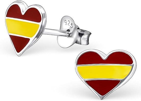 EYS JEWELRY® Pendientes para señora bandera España 8 x 9 mm Esmalte plata de ley 925 multicolor con la caja Pendientes mujer: Amazon.es: Joyería
