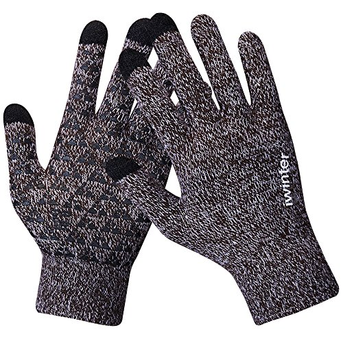 Anqier Winter Knit GlovesWarm Full Finger Touchscreen Gloves Men Women Thick Texting With Warm Wool Lining