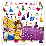Disney Princess temporary tattoos. Bag of 75 assorted Disney Princess designs! Featuring favorite characters Cinderella, Snow White, Arial, Tiana, Rapunzel and more! These temporary tattoos are fun, fast to apply, easy to remove. Perfect as party fav...