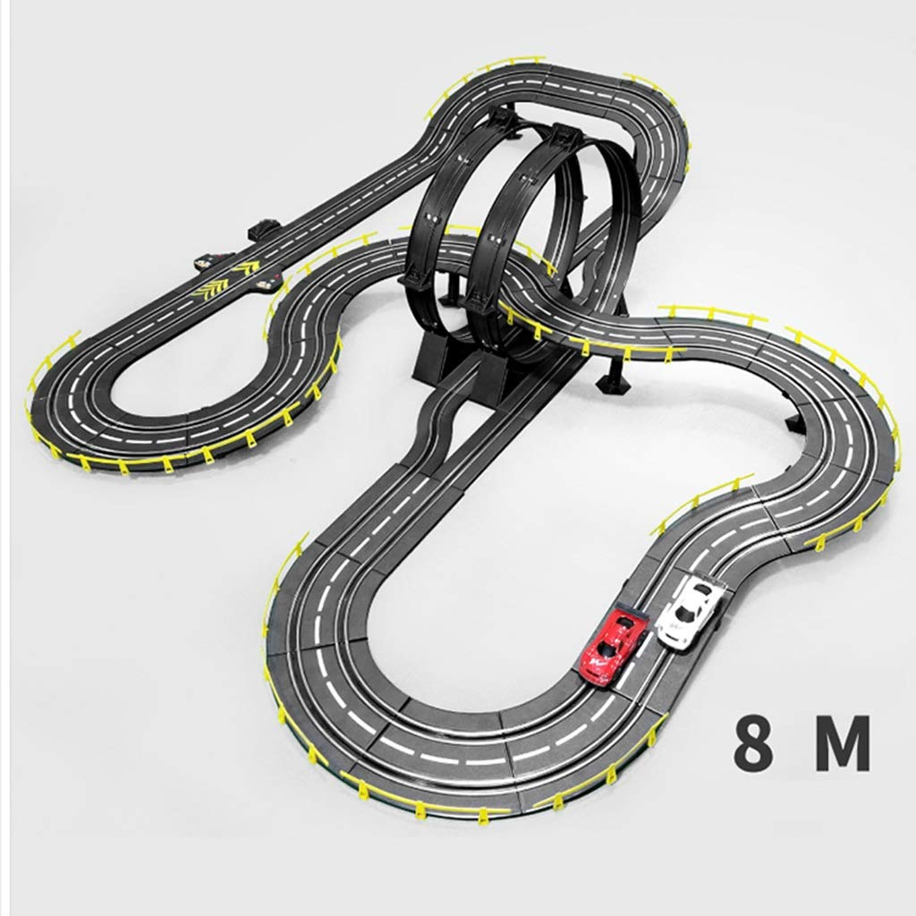 LINGLING-Track Track Racing Electric Toy Sports Track Large Parent-Child Toy Competitive Game 8 Meters Long Children Car Track Racing (Color : Electric+2 car+10 Brush, Size : 8m)