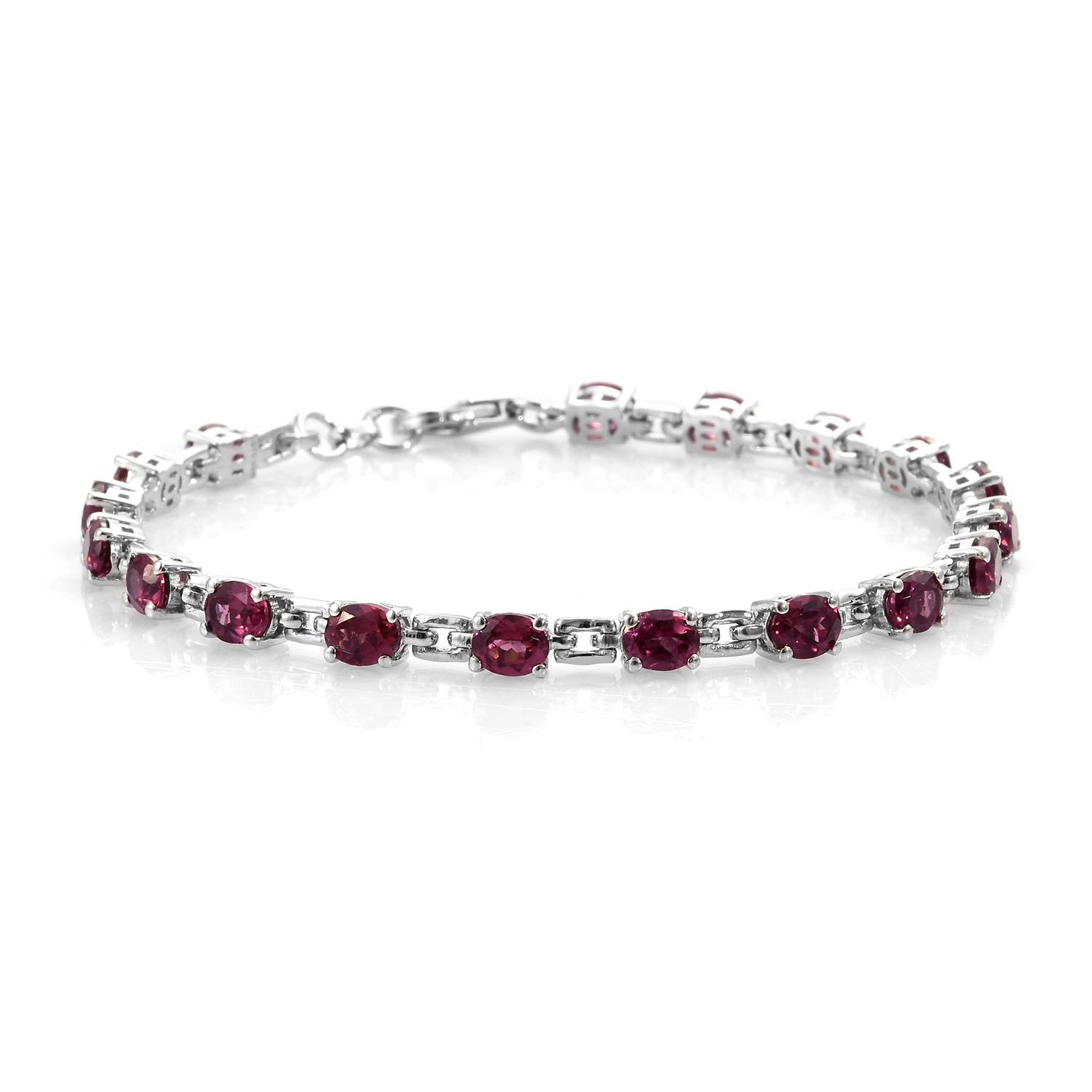 Bracelet 925 Sterling Silver Platinum Plated Oval Garnet Gift Jewelry for Women Size 7.25'' Ct 6.8
