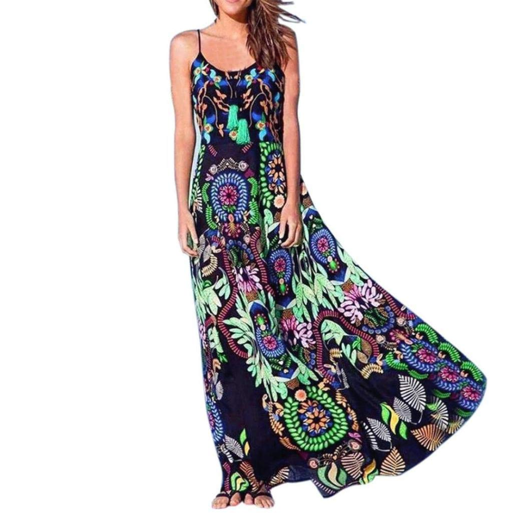 Clearance! Women's Dresses Sexy Sleeveless Floral Print Sling Spaghetti Strap Long Dress Summer Beach Tunic Maxi Dress