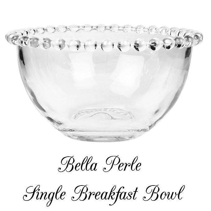 Bella Perle - Vajilla de vidrio templado de lujo con bordes con cuentas, Breakfast Bowl: Amazon.es: Hogar