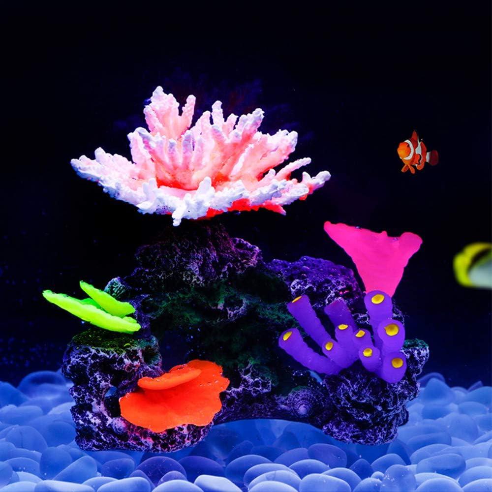 "Danmu 1pc Glowing Effect Artificial Coral Plant Ornaments, Aquarium Coral Decor for Fish Tank Aquarium Decoration 7"" x 4 1/3"" x 5 1/2"""