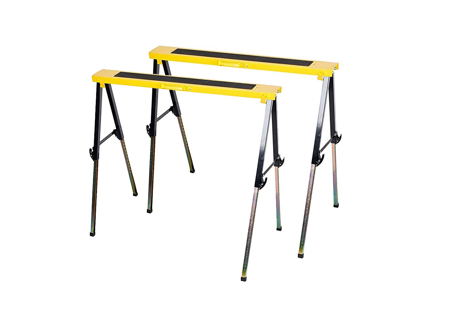 Foldable Legs Adjustable 12 Position Height Metal Sawhorse Brackets Twin Pack Capacity 500LBS (Each 250LBS)