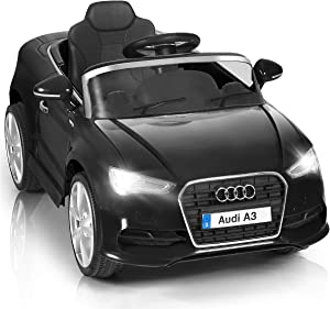 HONEY JOY Kids Ride On Car, Licensed Audi A3, 12V Kids Electric Vehicle with Parental Remote Control, Spring Suspension, Headlights, MP3 (Black)
