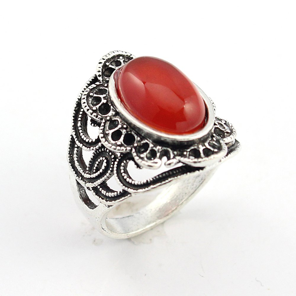 BEST QUALITY CARNELLIAN FASHION JEWELRY .925 SILVER PLATED RING 9 S22701
