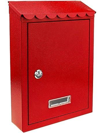 PrimeMatik - Buzón metálico para Cartas y Correo Postal de Color Rojo 210 x 60 x