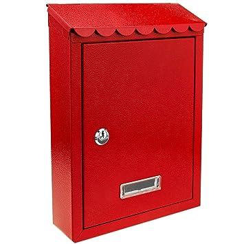 PrimeMatik - Buzón metálico para Cartas y Correo Postal de Color Rojo 210 x 60 x 300 mm