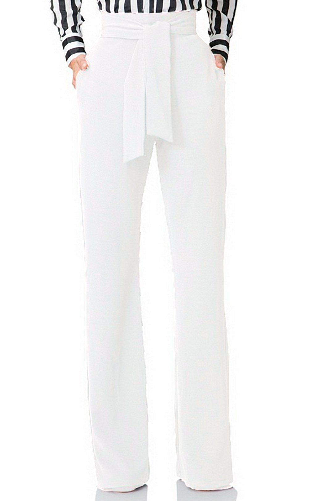 Women's Stretch Straight Leg High Waisted Summer Casual Long Pants with Belt